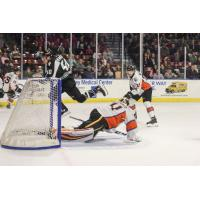 Utah Grizzlies forward Caleb Herbert scores against the Kansas City Mavericks