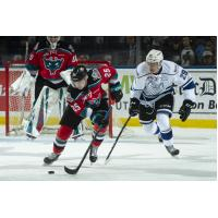Kelowna Rockets centre Kyle Crosbie races up the ice with the puck against the Victoria Royals